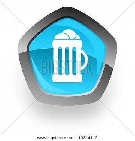 beer blue metallic chrome web pentagon glossy icon