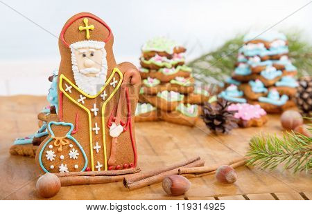Cookie St. Nicholas. Christmas trees Cookies. Spiced shortcrust biscuit traditionally baked before St Nicholas' feast in the Ukraine Netherlands Belgium and France and around Christmas in Germany.