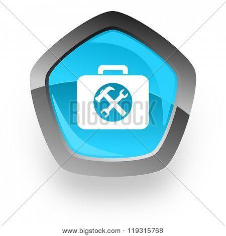 toolkit blue metallic chrome web pentagon glossy icon