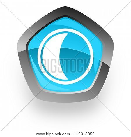 moon blue metallic chrome web pentagon glossy icon