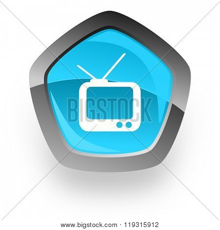 tv blue metallic chrome web pentagon glossy icon