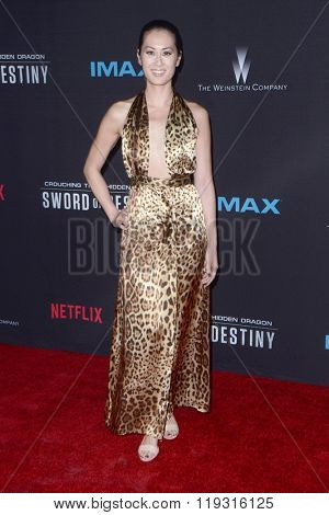 LOS ANGELES - FEB 22:  Olivia Cheng at the Crouching Tiger  Hidden Dragon - Sword of Destiny Premiere at the AMC Universal Citywalk on February 22, 2016 in Universal City, CA