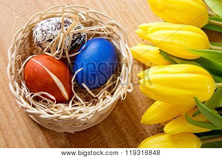 Easter basket with colored eggs and yellow tulips.