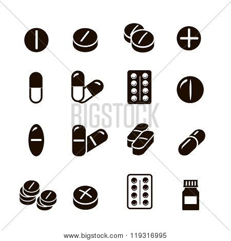 Pills and capsules icons set  vector.