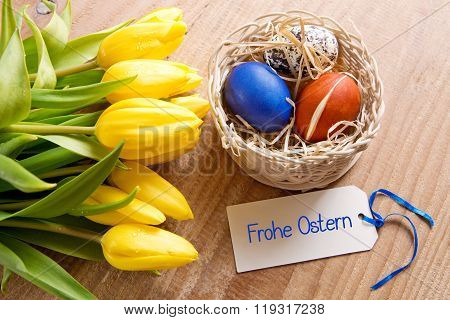 Frohe Ostern card and Easter basket.