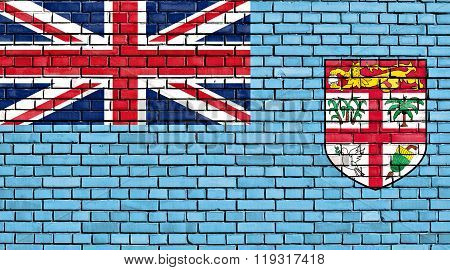 Flag Of Fiji Painted On Brick Wall
