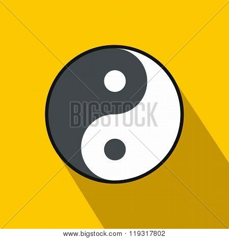 Ying yang icon, flat style