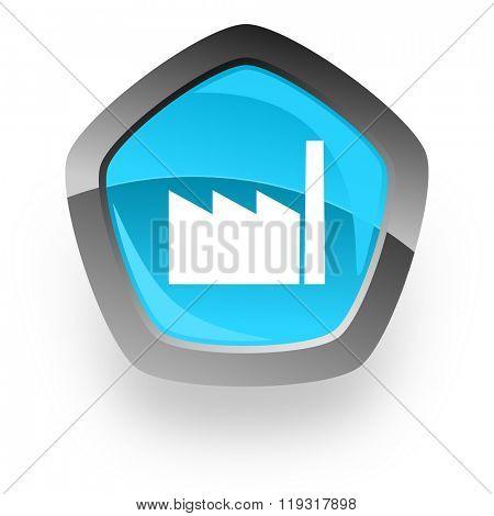 factory blue metallic chrome web pentagon glossy icon