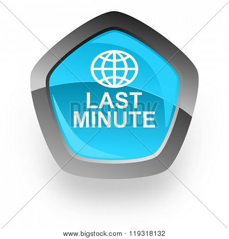 last minute blue metallic chrome web pentagon glossy icon