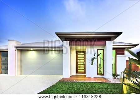 Luxurious Mansion And A Loan Against Blue Sky Background