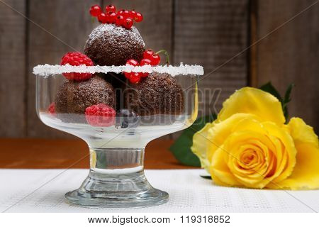 Chocolate Cake Balls And Fresh Berries