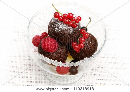 A Delicious Dessert With Chocolate Cake Balls