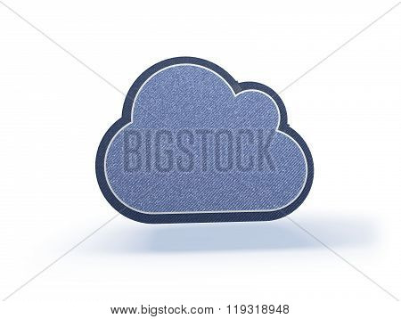Cloud Shopping Icon In Blueish Denim Look