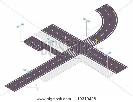 Road, street traffic, info graphic, junction crossway on white background.