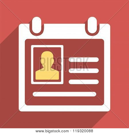 Personal Badge Flat Longshadow Square Icon