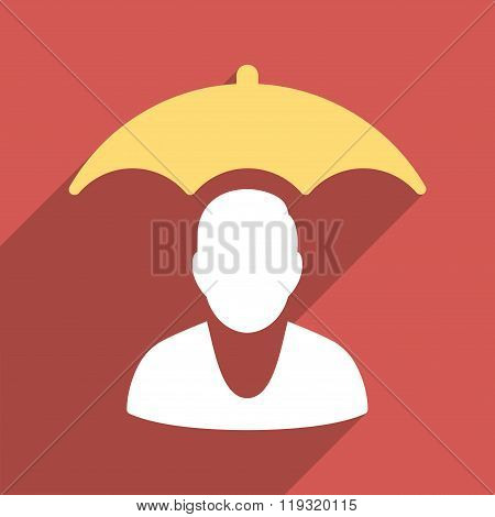 Personal Insurance Protection Flat Longshadow Square Icon