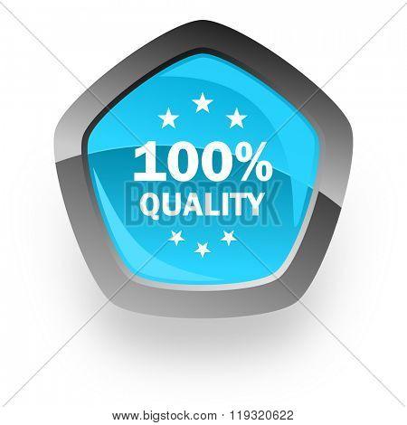 quality blue metallic chrome web pentagon glossy icon