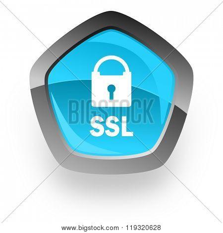 ssl blue metallic chrome web pentagon glossy icon