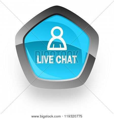 live chat blue metallic chrome web pentagon glossy icon