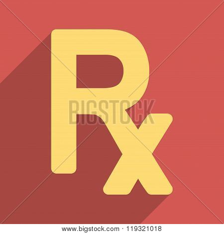 Prescription Symbol Flat Longshadow Square Icon