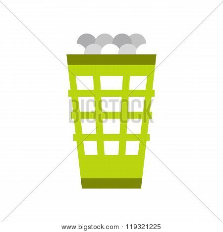 Green basket with golf balls flat icon