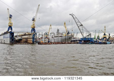 View of port of Klaipeda from the breakwater