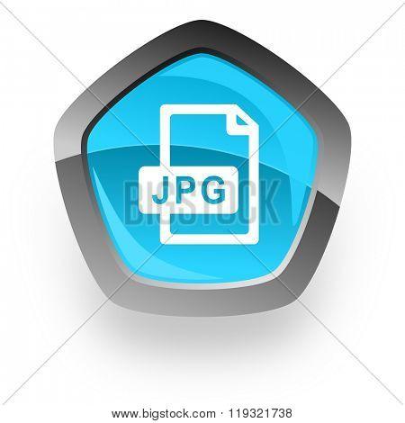 jpg file blue metallic chrome web pentagon glossy icon