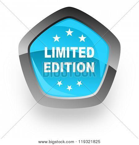 limited edition blue metallic chrome web pentagon glossy icon