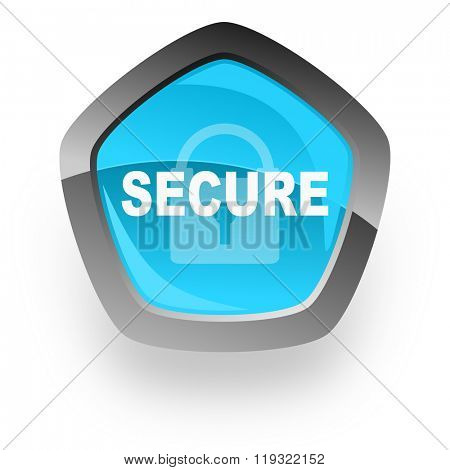 secure blue metallic chrome web pentagon glossy icon