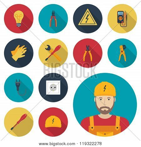 Electricity Set Icon Flat. Icons Electric Tools, Equipments And Maintenance.