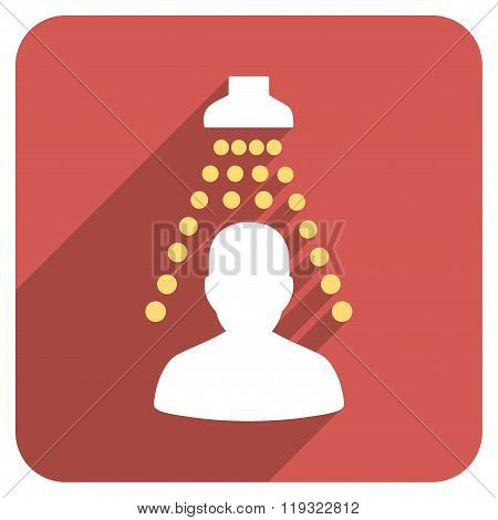 Patient Disinfection Flat Rounded Square Icon with Long Shadow