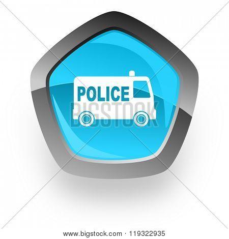 police blue metallic chrome web pentagon glossy icon