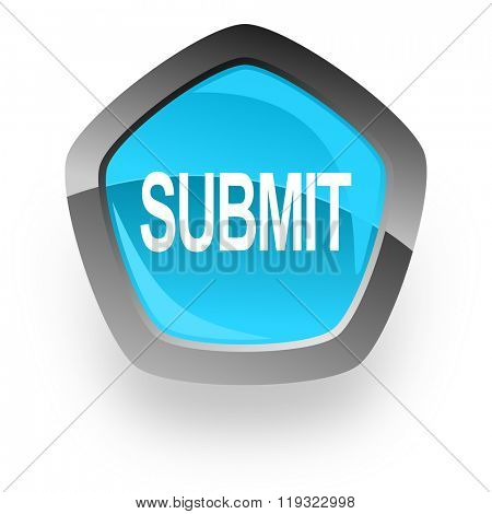 submit blue metallic chrome web pentagon glossy icon
