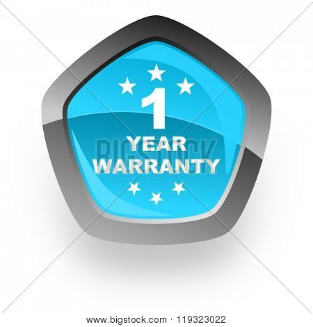 warranty guarantee 1 year blue metallic chrome web pentagon glossy icon