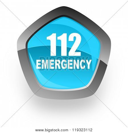 number emergency 112 blue metallic chrome web pentagon glossy icon