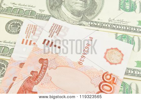 Dollars And Five Thousand Rubles Banknotes