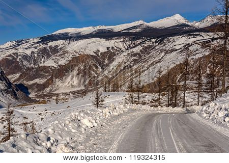 Mountain Road Snow Winter Valley