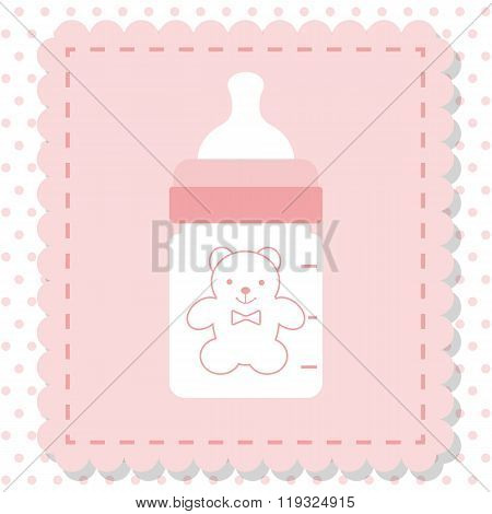 Icon Baby Bottle Of Milk, Vector. Plastic, Rubber Bottle Isolated For Baby Food.