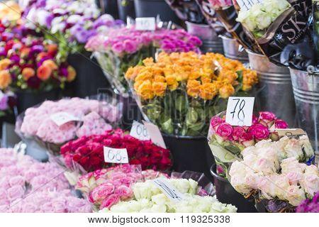 Outdoor Flower Market In Copenhagen, Denmark.