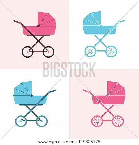 Baby Carriage. Pram Icon. Vector Illustration. A Set Of Baby Carriages, Pink For Girls And Blue For
