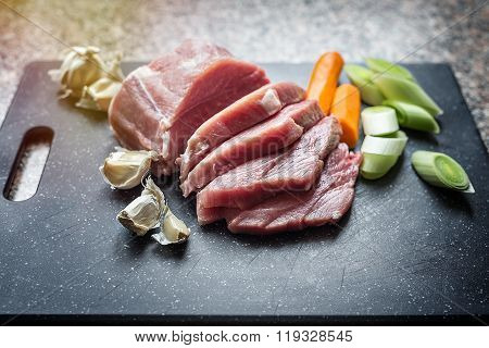Raw Meat With Vegetables, Closeup Shot