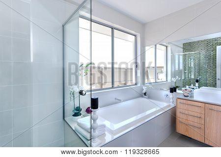 Modern Bathroom Focusing On Bathtub In A Luxurious Hotel