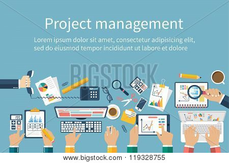 Project Management Concept. Business Team Work On Projects. Brainstorming.