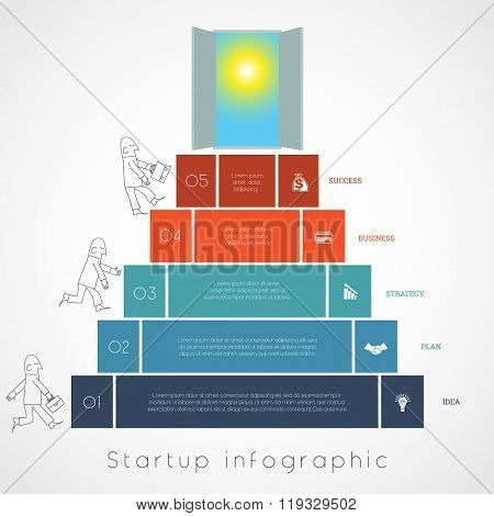 Infographics Businessman Steps Up Ladders Template Five Positions