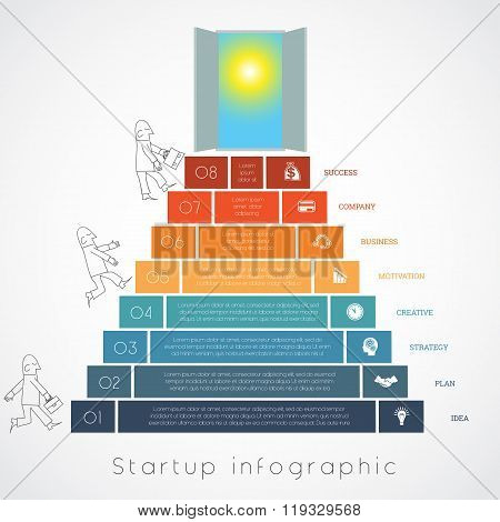 Infographics Businessman Steps Up Ladders Template Eight Positions