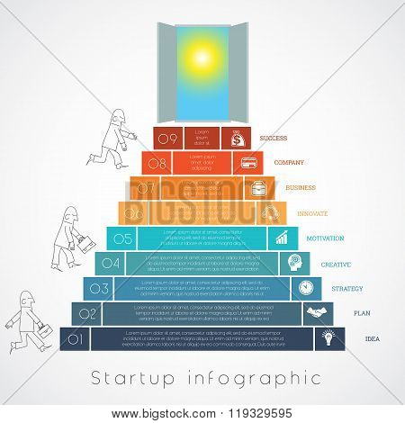 Infographics Businessman Steps Up Ladders Template Nine Positions
