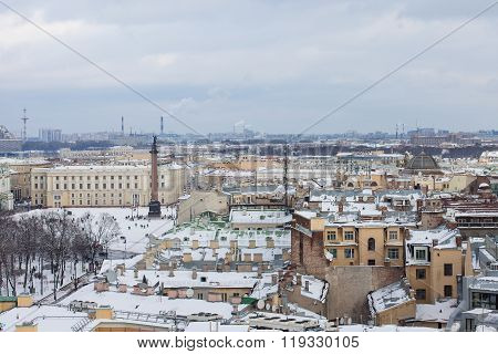 Palace square in Saint-Petersburg from the high