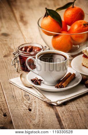 Cup coffee breakfast rustic stylephoto