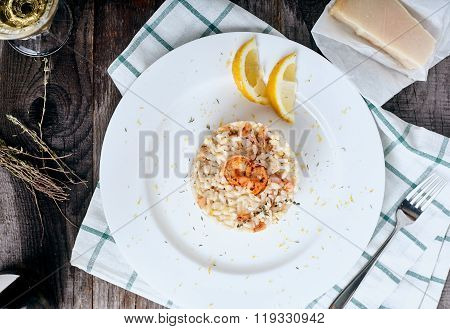 Risotto with shrimps and thyme