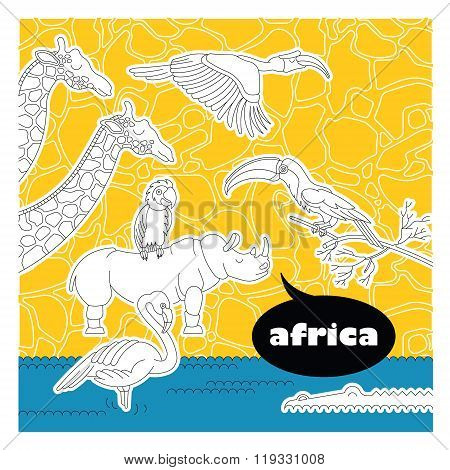Set of african animals and birds. Made in vector in flat lineart style. Easy recolor. Each character is separately grouped.